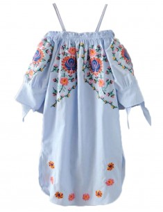 Off Shoulder Embroidered Tunic
