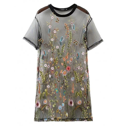 Embroidered Transparent Mesh Tunic