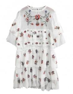 'Mae' Vintage Floral Embroidered Dress