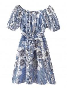 Off Shoulder Blue Floral Dress