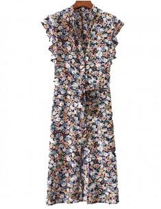 Ruffle Sleeve Floral Midi Dress