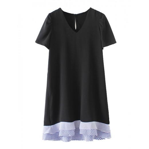 'Niki' Ruffle Hem Black Mini Dress