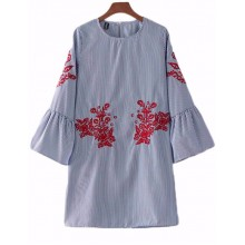 'Eleanor' Flare Sleeve Floral Tunic Dress