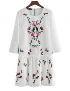 'Simone' White Vintage Floral Dress