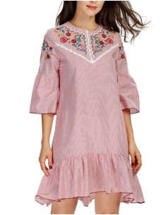 Bell Sleeve Embroidered Ruffle Dress