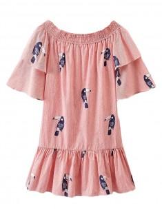 Off Shoulder Parrots Oversized Dress