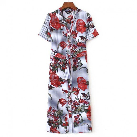 Tie Waist Floral Midi Shirt Dress