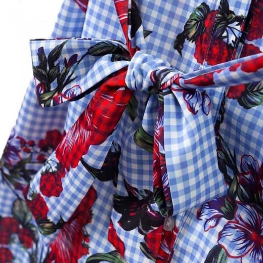 Tie Waist Floral Midi Shirt Dress