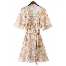 'Clover' Floral Pattern Ruffles Dress