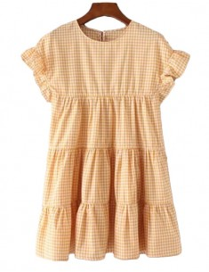 'Edith' Checkered Yellow Summer Dress