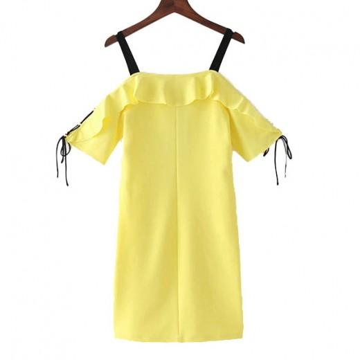 'Abishag' Yellow Off Shoulder Dress