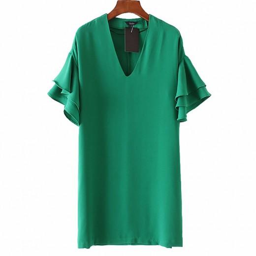 'Sonia' V-neck Ruffle Sleeve Dress