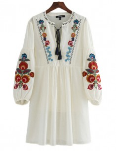 'Ainley' Floral Embroidered Boho Dress