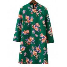 'Akasuki' Buttons Green Floral Dress