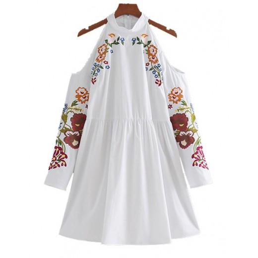 'Flora' Cold Shoulder Floral Dress