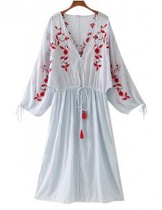 'Deborah' Floral Embroidered Midi Dress