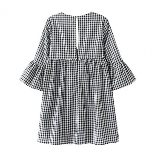 'Susanne' Retro V-neck Checkered Tunic