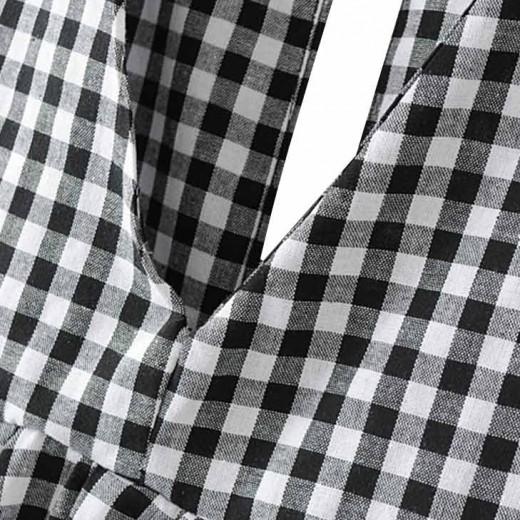 'Susanne' Retro V-neck Checkered Tunic