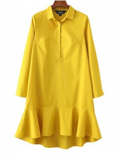 'Alice' Ruffle Hem Yellow Shirt Dress