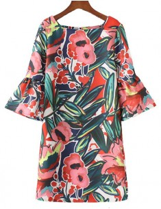 'Eulalia' Flared Sleeve Floral Dress