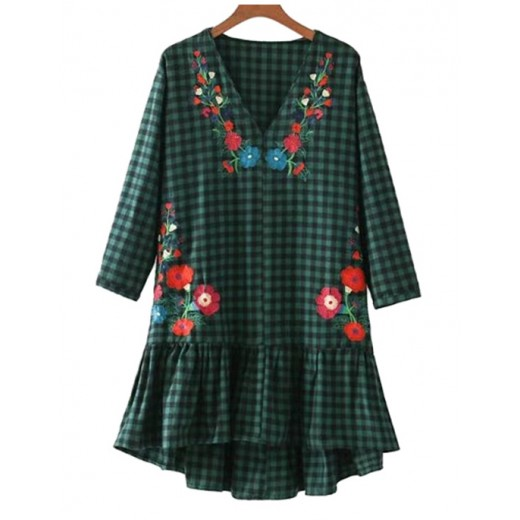 'Ciel' Floral Green Plaid Dress