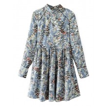 'Eve' Pleated Blue Floral Dress