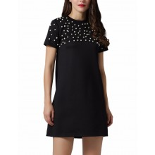'Hadley' Pearl Beaded Black Dress