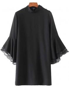 'Rae' Flare Sleeve Black Short Dress