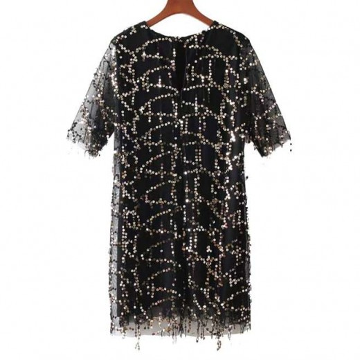 'Neveah' Sequined Black Party Dress
