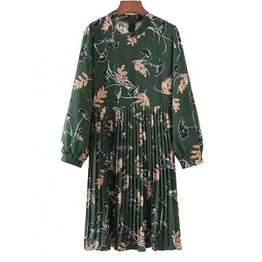'Nia' Floral Print Green Pleated Dress