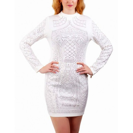 Rhinestone Studded White Mini Dress