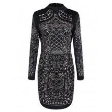 Rhinestone Studded Black Mini Dress