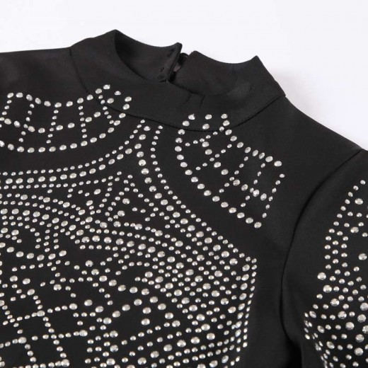 Rhinestone Studded Black Mini Dress