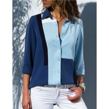 'Akahele' Color Block Blue Shirt