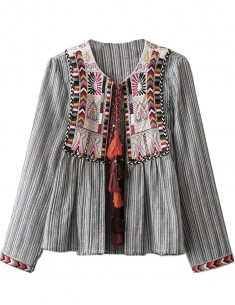 Tribal Embroidered Striped Top