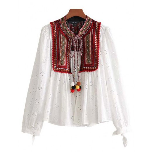 'Renee' Embroidered White Blouse