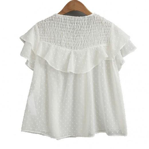 'Rhonda' Loose Sheer White Blouse