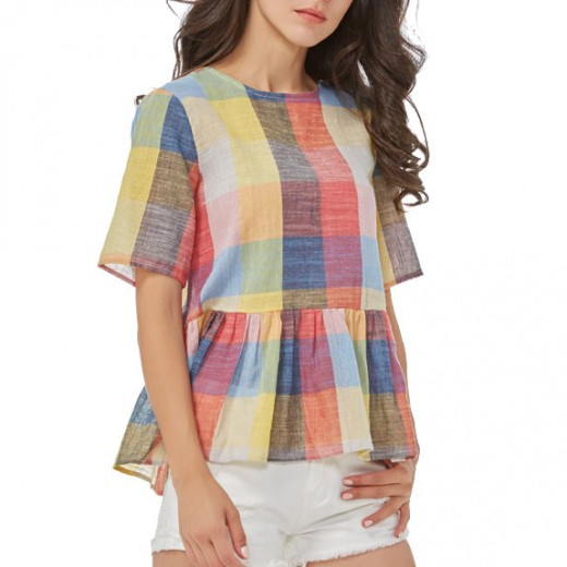Back Bow Tie Multicolor Plaid Shirt