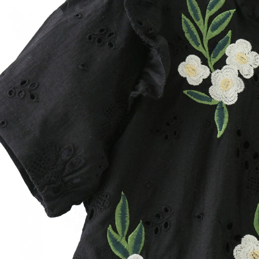 'Ava' Floral Embroidered Tied Back Blouse