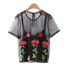 'April' Floral Embroidered Crop Top
