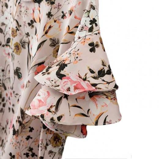 'Helga' Ruffle Sleeve Floral Top