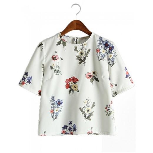 Floral Print Sweet Crop Top