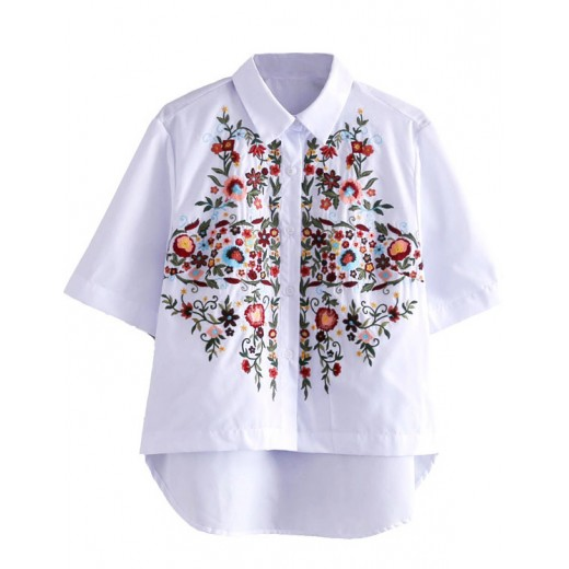 'Mona' Floral Embroidered White Shirt