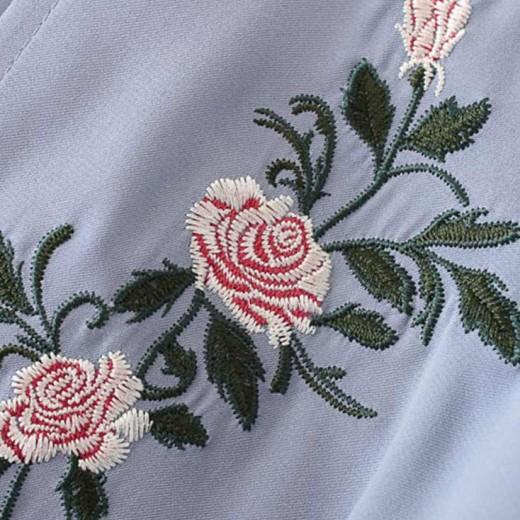 Cross V Neck Embroidered Blouse