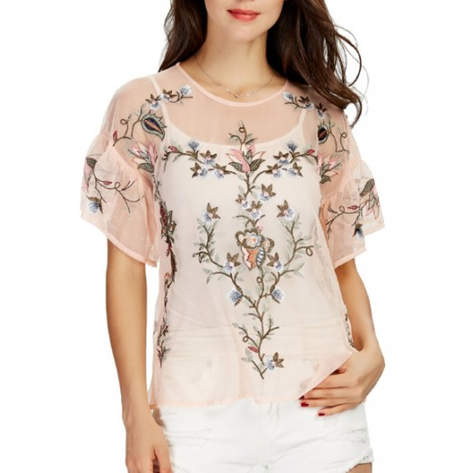 'Dinah' Floral Embroidered Mesh Top