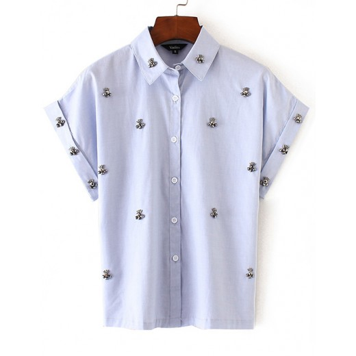 'Posey' Button Up Beaded Shirt
