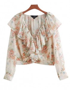 'Tia' See-Through Ruffle Floral Blouse