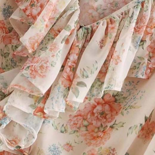 'Tia' See-Through Ruffle Floral Blouse