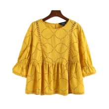 'Marsha' Yellow Peplum Blouse