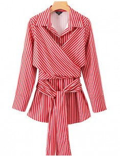 'Danae' Cross Tie Striped Shirt
